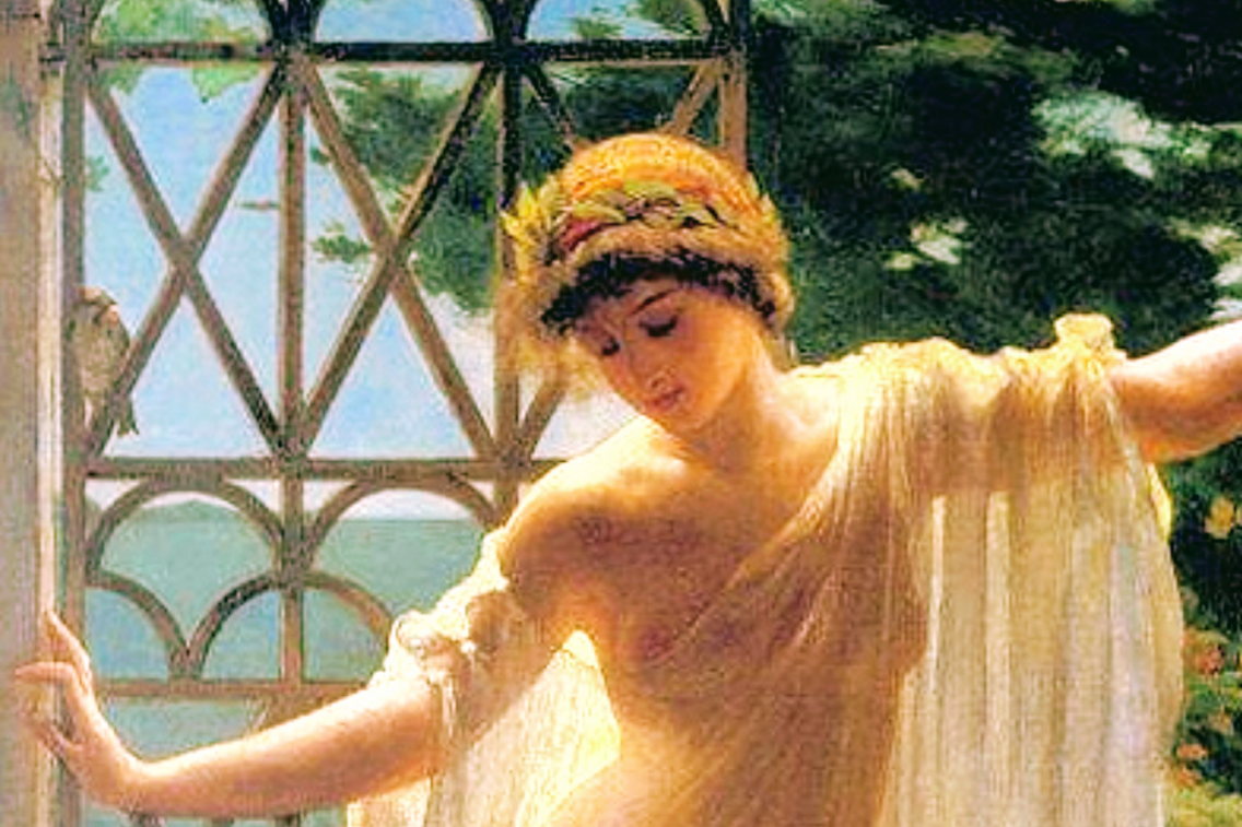Art: Lesbia, 1878 painting by John Reinhard Weguelin, inspired by the poems of Catullus