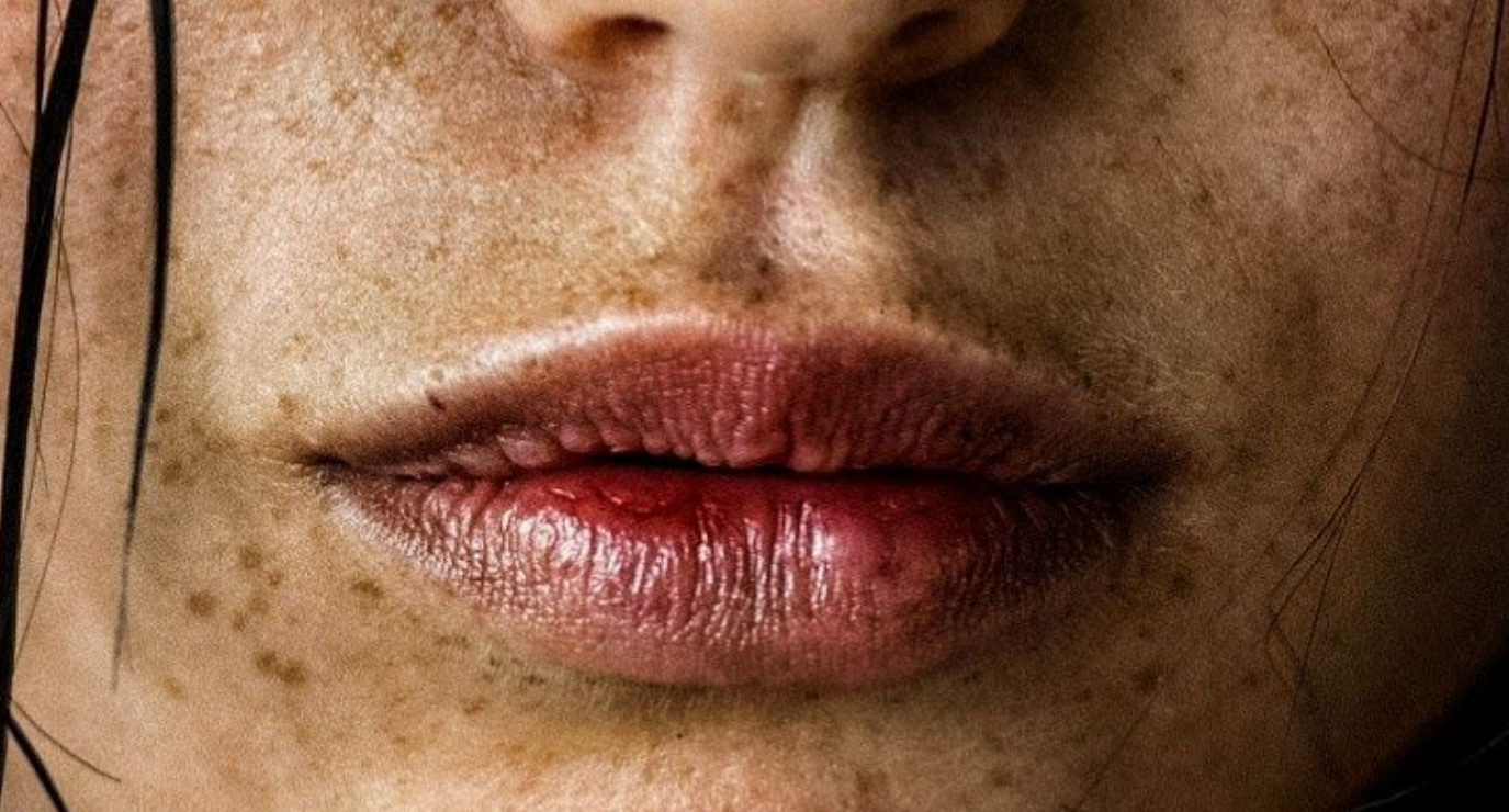 woman's lips in close up